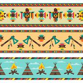 stock photo of tomahawk  - Ethnic seamless pattern in native style - JPG