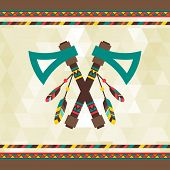 picture of tomahawk  - Ethnic background with tomahawk in navajo design - JPG