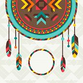 foto of dreamcatcher  - Ethnic background with dreamcatcher in navajo design - JPG