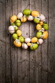 stock photo of appendicitis  - Easter wreath from eggs and spring flowers appended - JPG