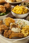 picture of southern fried chicken  - Homemade Southern Fried Chicken with Biscuits and Mashed Potatoes