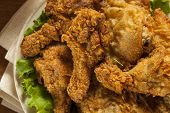 pic of southern fried chicken  - Homemade Southern Fried Chicken with Biscuits and Mashed Potatoes - JPG