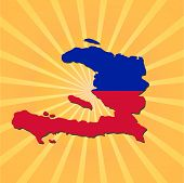 Haiti map flag on sunburst vector illustration