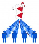 Lines of people with Bahrain map flag vector illustration
