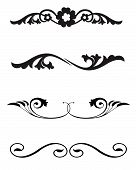 stock photo of scrollwork  - Decorative vector corner ornament and line rule art for page dividers or embellishments with a vintage flavor - JPG