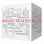 stock photo of pipefitter  - Skilled Trades 3D cube Word Cloud Concept with great terms such as plumber welding mason and more - JPG