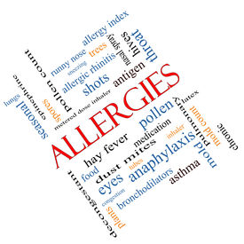 stock photo of dust mite  - Allergies Word Cloud Concept angled with great terms such as food pollen mold and more - JPG