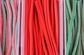 stock photo of licorice  - background of colorful licorice candy for sale - JPG