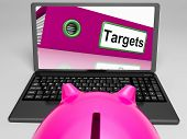 foto of goal setting  - Targets Laptop Meaning Aims Objectives And Goal setting - JPG