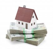 stock photo of zloty  - House on stack of polish zlotys - JPG