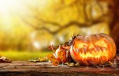 stock photo of funny ghost  - Concept of halloween pumpkins on wooden planks with blur background - JPG