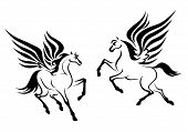 picture of pegasus  - Black pegasus horses with wings for religious design - JPG