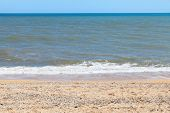 pic of azov  - Sea of Azov coastline on Taman Peninsula near resort village Golubickaya Russia - JPG