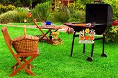 pic of bbq party  - BBQ Grill Picnic basket garden furniture signboard - JPG
