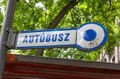 Постер, плакат: Autobus Sign In Budapest Hungary Made Of Enamel