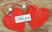 picture of miss you  - Miss you card with red wooden hearts - JPG