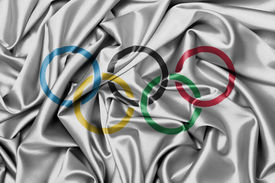 picture of olympiade  - Satin flag with emblem the olympic rings - JPG
