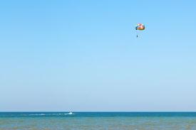 picture of parasailing  - Parasailing on Sea of Azov coast near Golubitskaya village resort Russia - JPG