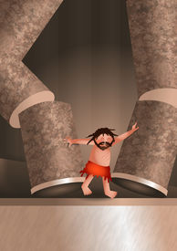 image of samson  - A digitally created cartoon illustration of Samson destroying the Philistine temple in revenge for having his eyes gourged out - JPG