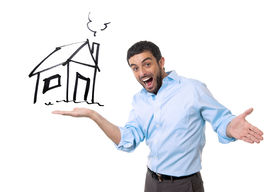 foto of sketche  - young happy attractive sales man showing house sketch at copy space in housing owner mortgage banking and new property buying concept isolated on white background - JPG