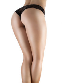 picture of panty-hose  - Sexy ass in black panties isolated on white - JPG
