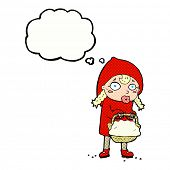 foto of little red riding hood  - little red riding hood cartoon with thought bubble - JPG