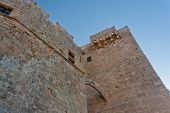 foto of fortified wall  - Wall and tower of a medieval castle - JPG