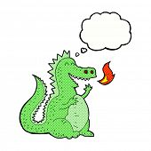 pic of fire-breathing  - cartoon fire breathing dragon with thought bubble - JPG