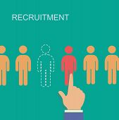 stock photo of recruiting  - recruitment and human resource infographics template  with space for text - JPG
