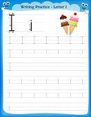 stock photo of kindergarten  - Writing practice letter I printable worksheet for preschool  - JPG