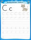 picture of kindergarten  - Writing practice letter C printable worksheet for preschool  - JPG