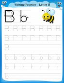 picture of letter b  - Writing practice letter B printable worksheet for preschool  - JPG