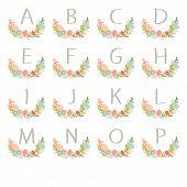 foto of monogram  - Hand drawn monogram wreath table card A to P - JPG