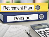 picture of retirement  - retirement plan and pension binders isolated on the office table - JPG
