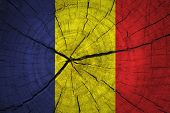 stock photo of chad  - Chad Flag on old  texture wood background - JPG