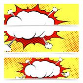 stock photo of sketch book  - Comic book retro style web header or footer collection with blasting explosion steam cloud - JPG