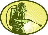image of pest control  - illustration of a Pest control exterminator worker spraying side view - JPG