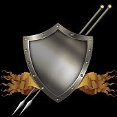 picture of spears  - Medieval shield with scrolls of parchment and two spears on black background - JPG