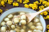 stock photo of mung beans  - Vietnamese food sweet lotus seed gruel ingredients - JPG