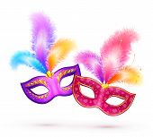 foto of mask  - Pair of vector bright carnival masks with colorful feathers - JPG