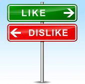 picture of dislike  - illustration of green and red direction signs for like and dislike - JPG