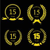 stock photo of laurel  - Celebrating 15  fifteen Years Anniversary  - JPG