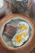 stock photo of fermentation  - Soup made from fermented rye flour with egg and sausage traditional polish - JPG