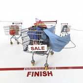 foto of trolley  - shopping sale concept background with shopping trolley on isolate white - JPG