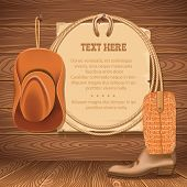 stock photo of wild west  - Wild West Poster with cowboy objects - JPG