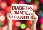 picture of diabetes symptoms  - Diabetes card with colorful background with defocused lights - JPG