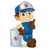 stock photo of pest control  - Cartoon illustration of a cute exterminator - JPG