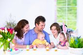 pic of ear  - Happy young family with three children  - JPG