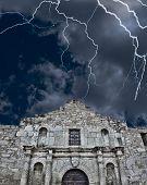 foto of revolutionary war  - A stormy night at the Alamo in San AntonioTexas - JPG