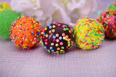 stock photo of cake pop  - Sweet cake pops on table close - JPG